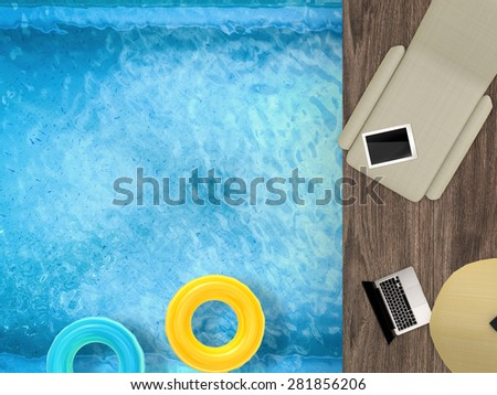 pool side relaxation view from above - stock photo