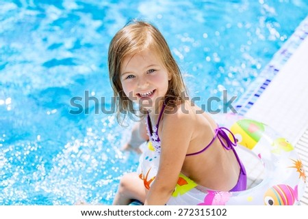 Pool, swimming, girl. - stock photo