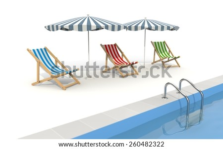 Pool with umbrella and plank bed - stock photo