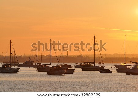 Poole Harbour sunset - stock photo