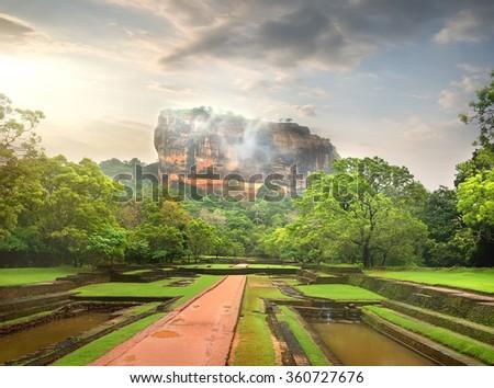 Pools in the garden near Sigiriya mountain - stock photo