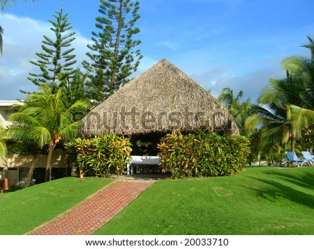 Poolside spa hut in tropical resort, Costa Rica - stock photo