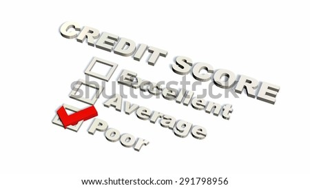poor Credit Score Text - isolated on white background