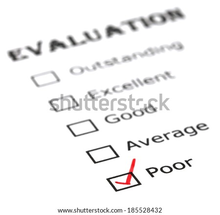 Poor evaluation on white paper - stock photo