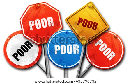 poor sign background, 3D rendering, rough street sign collection - stock photo