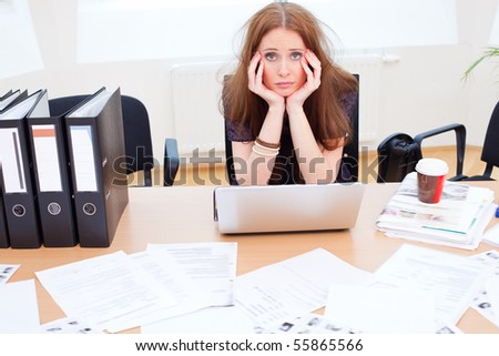 poor young lady is really looking bored - stock photo