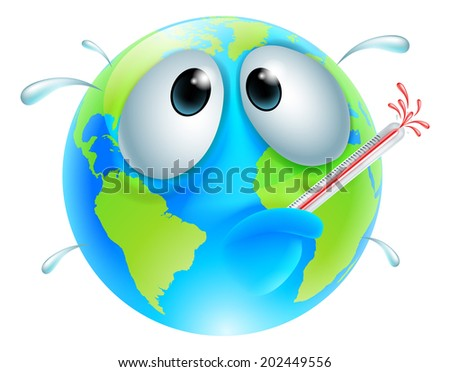 Poorly globe concept of a globe with a fever sweating and bursting a thermometer. Could be a concept for global warming - stock photo