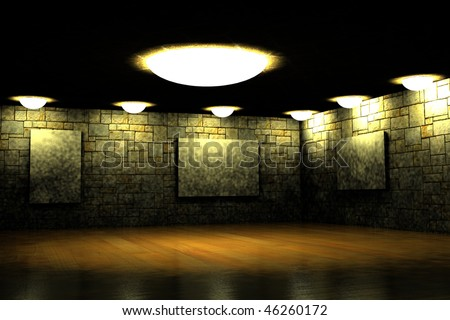 poorly lit dark room with empty space for images on the walls; 3d image