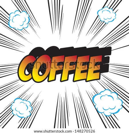 pop art background office stamp with the word COFFEE  - stock photo