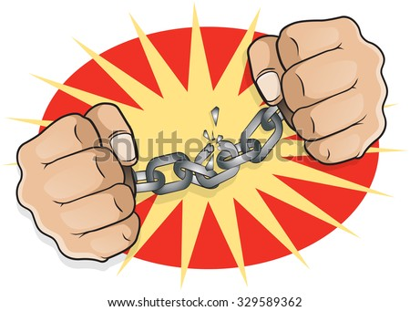 Pop Art Chained Fists. Great illustration of pop Art comic book style fists breaking free from the shackles of imprisonment in an act of defiance and redemption. - stock photo