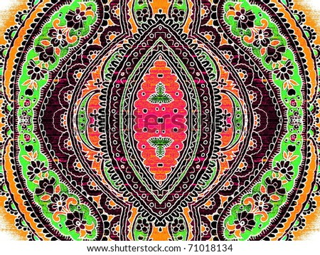 Pop art colorful arabic style grungy decor texture. More of this motif & more ornaments in my port. - stock photo