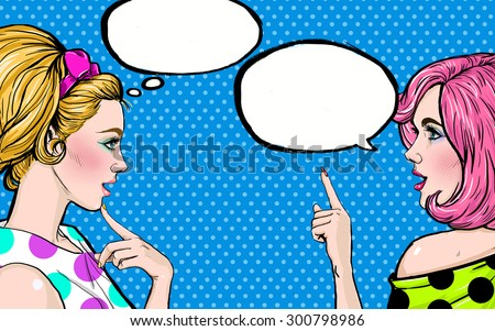 Pop Art girls with speech bubble. Party invitation. Birthday greeting card.Vintage advertising poster. Comic woman with speech bubble. Sexy  girls. Gossip girls with speech bubbles. pop art background - stock photo