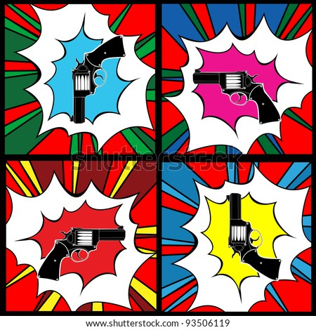 Pop art gun, clip art icons
