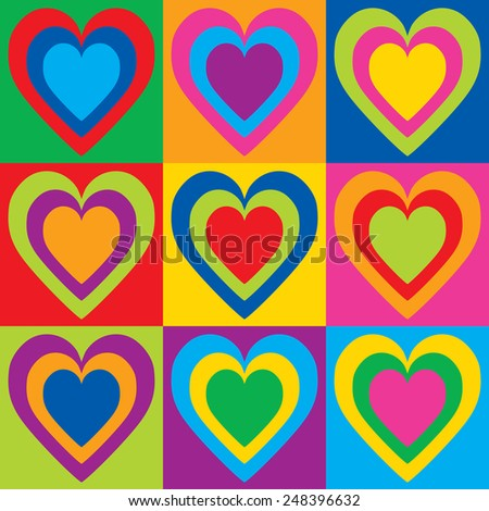 Pop Art hearts in a colorful checkerboard design.  - stock photo