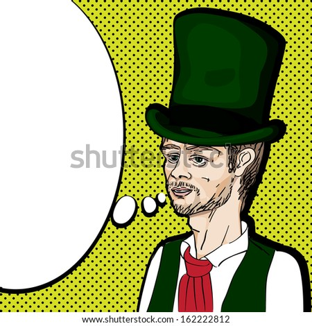 Pop art illustration of a nineteenth century style man with topper speaking, hand drawn portrait with speech bubble over a background with dots - stock photo