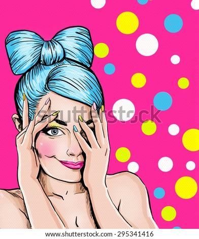 Pop Art illustration of blue head girl on pink background.Pop Art girl. Party invitation. Birthday greeting card. Advertising poster. Comic woman. Romantic girl hiding her face. Cute girl flirting. - stock photo