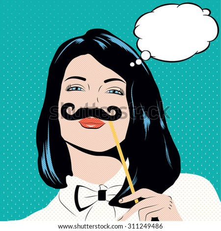 Pop art illustration with girl holding mustache. Woman with black hair and blue eyes in pin up style.Thinking woman in comic style with speech bubble for your text - stock photo