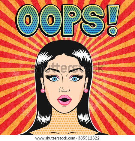 Pop art OOPS woman face with open mouth in retro comic style - stock photo