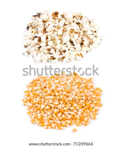 Pop corn, before and after pop, ingredient and product. - stock photo