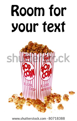 pop corn, caramel corn, snack, hot popcorn - a box of fresh popped Caramel Corn also known as Caramel corn or Caramel Popcorn. isolated on white with room for your text - stock photo