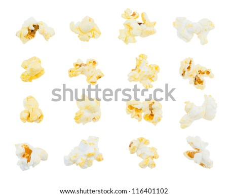 Pop corn collection isolated on white - stock photo