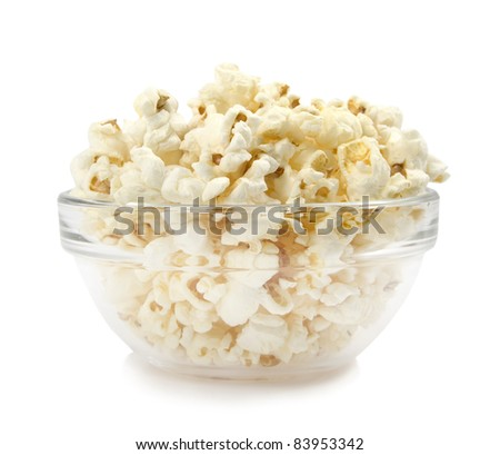 pop-corn in a dish on a white background - stock photo