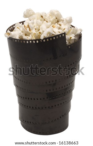 Pop corn pan from the film isolated with clipping path - stock photo