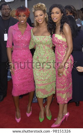 Pop group DESTINY'S CHILD at the 7th Annual Soul Train Lady of Soul Awards in Santa Monica, California. 28AUG2001.   Paul Smith/Featureflash - stock photo