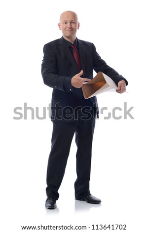 pop it in the post concept, man in suit isolated on white - stock photo