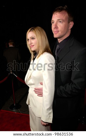 Pop star/actress MADONNA & director husband GUY RITCHIE at the Los Angeles premiere of his new movie Snatch. 18JAN2001.   Paul Smith/Featureflash - stock photo