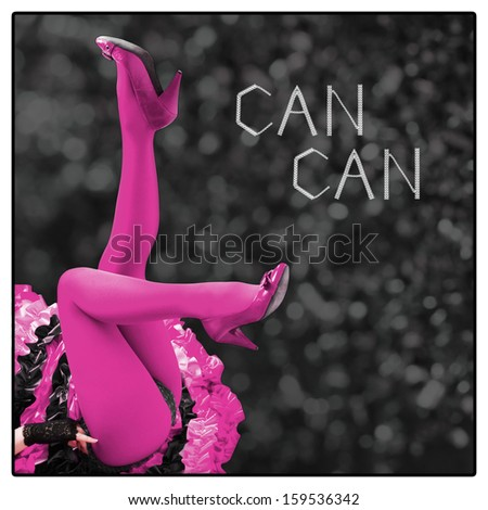 Pop-style design of Cancan poster: sexy legs of a young woman laying on her back and showing buttocks, wearing cancan skirt, vibrant fuxia stockings and high heel shoes - stock photo