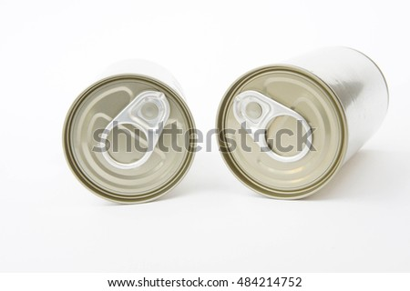pop-top lid ,cans on white background, Packaging cans, Tin can easy open ends for beverage and food packaging Tin containers, chemicals.