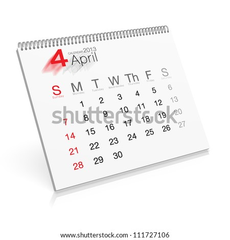 Pop-up Calendar April 2013 - stock photo