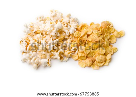 Popcorn and corn isolated on white - stock photo