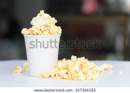 popcorn and cup - stock photo