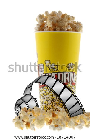 Popcorn and film - stock photo