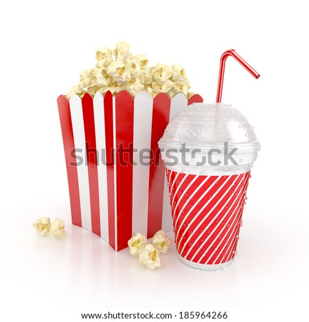 popcorn and paper cup with red tube. cinematography concept. 3d illustration isolated on white background. - stock photo