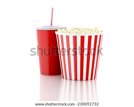 popcorn and soda. 3d illustration - stock photo