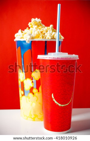 Popcorn bowl and drink