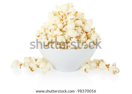 Popcorn bowl isolated on white, clipping path included - stock photo