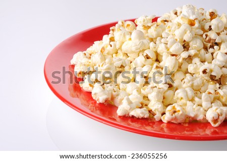 Popcorn,Bowl of fresh popped popcorn ,Bowl of popcorn,  - stock photo