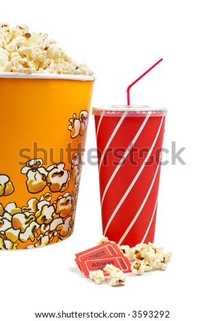 Popcorn bucket with two tickets and soda on white background - stock photo