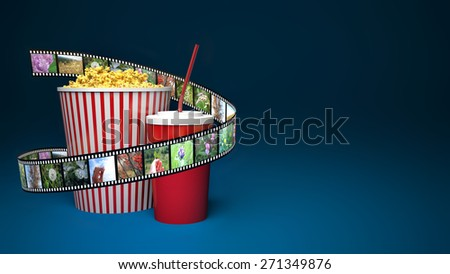 Popcorn for cinema and movie film tape on blue background - stock photo