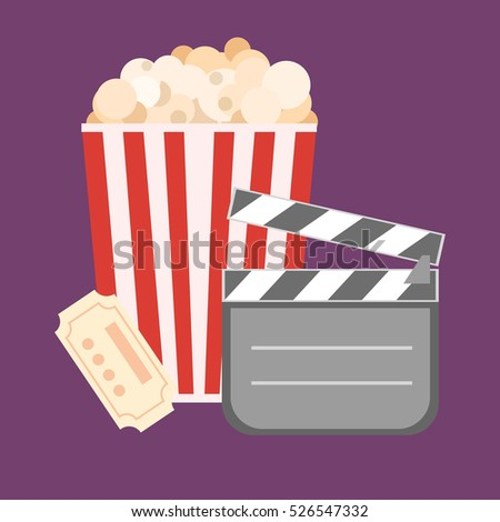 Popcorn for movie theater and online cinema reel on blue background.  illustration. Paper package full of jumping popcorns and film tape for cinematography.