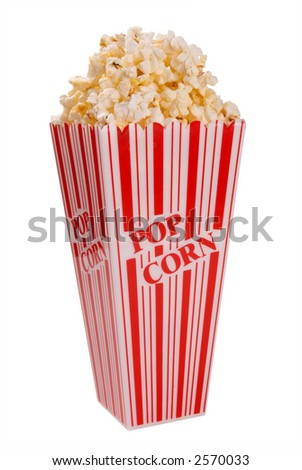 popcorn from side over white with clipping path - stock photo