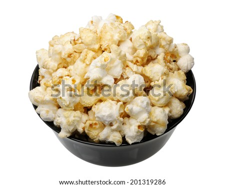 Popcorn in a black cup on a white background, isolated  - stock photo