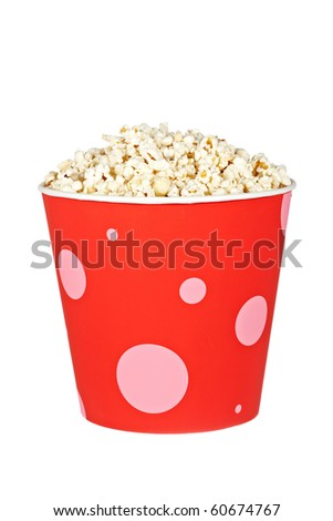 Popcorn in a bucket isolated on a white background - stock photo