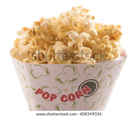 popcorn in a container isolated on white background - stock photo
