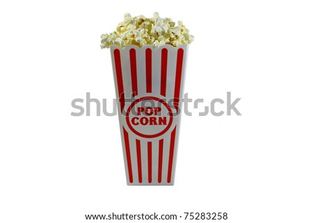 Popcorn in a container ready for the movies or your next project, isolated on white with room for your text. - stock photo