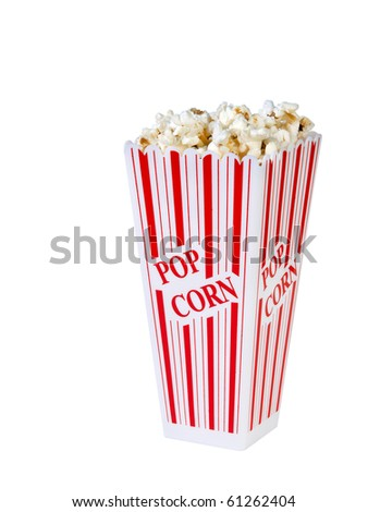 Popcorn in a container ready for the movies or your next project, on a white background. - stock photo